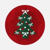 Flache Ikone des Weihnachtsbaums mit langem Schatten Lizenzfreie Stockfotos