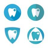Flache Ikone des Zahnarztkonzeptes Logozahn Lizenzfreies Stockfoto