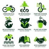 Flache Ikone eingestellt für eco freundliche Umwelt Lizenzfreie Abbildung