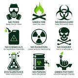 Flache Ikone eingestellt für grüne eco Industrie Stock Abbildung