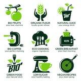 Flache Ikone eingestellt für grüne eco Küche Vektor Abbildung