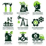 Flache Ikone eingestellt für grüne eco Produktion Stock Abbildung