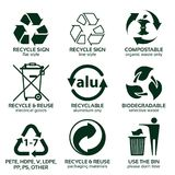 Flache Ikone eingestellt für grüne eco Verpackung Vektor Abbildung
