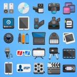 Flache Ikone gesetztes foto Video Vektor Lizenzfreie Stockbilder