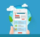 Flache Ikone intelligenten Telefons Iphone in den Händen Lizenzfreies Stockfoto