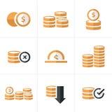 Flache Ikone Münzen-Ikonen eingestellt, Vektor-Designschwarzfarbe Stockbild