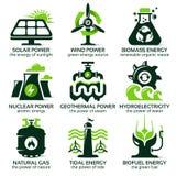 Flache Ikone stellte für eco freundliche alternative Energiequellen ein Stock Abbildung