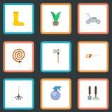 Flache Ikonen-Axt, Gummistiefel, Garten-Schlauch und andere Vektor-Elemente vektor abbildung