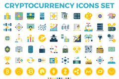 Flache Ikonen Cryptocurrency und Blockchain Lizenzfreie Stockfotografie
