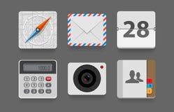 Flache Ikonen der Anwendung für Telefon und Netz. Stockfotos