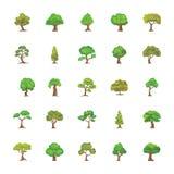 Flache Ikonen der Bäume eingestellt Lizenzfreies Stockfoto