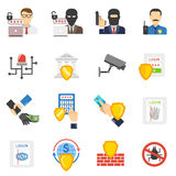 Flache Ikonen der Banksicherheit eingestellt Lizenzfreie Stockfotografie