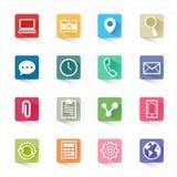 Flache Ikonen der beweglichen Anwendungen des Netzes eingestellt und weißer Hintergrund Lizenzfreies Stockbild