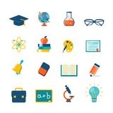 Flache Ikonen der Bildung Lizenzfreie Stockfotos