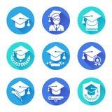 Flache Ikonen der Bildung eingestellt Lizenzfreie Stockbilder