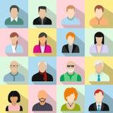 16 flache Ikonen der Charaktere eingestellt Lizenzfreie Stockbilder