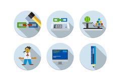 Flache Ikonen der Designvektor-Illustration sechs eingestellt Stockbild