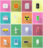 Flache Ikonen der flachen Ikonen der Energie und der Energie vector Illustration Lizenzfreie Stockfotos