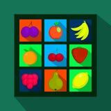 Flache Ikonen der Früchte und der Beeren mit langem Schatten Stockfotos