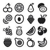 Flache Ikonen der Frucht. Schwarzes Stockbild