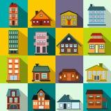 Flache Ikonen der Häuser eingestellt Stockfoto