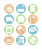 Flache Ikonen der Immobilien Farb Vektor Abbildung