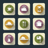 Flache Ikonen der Küche Stockbild