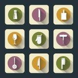 Flache Ikonen der Küche Stockbilder