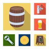 Flache Ikonen der Kneipe, des Innenraums und der Ausrüstung in der Satzsammlung für Design Alkohol- und Lebensmittelvektorsymbol- Stockfotos