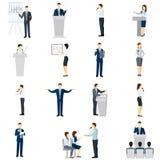 Flache Ikonen der Leute des öffentlichen Sprechens eingestellt Lizenzfreies Stockbild