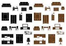 Flache Ikonen der Möbel eingestellt Stockfotografie
