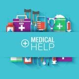 Flache Ikonen der Medizin stellten Konzept ein Vektor Stockfotos