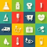 Flache Ikonen der Medizin stellten Konzept ein Vektor Stockbilder