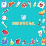 Flache Ikonen der Medizin stellten Konzept ein Vektor Lizenzfreie Stockfotografie