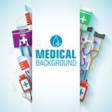 Flache Ikonen der Medizin stellten Konzept ein Vektor Lizenzfreie Stockfotos