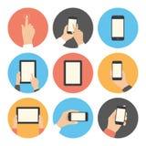 Flache Ikonen der Mobilkommunikation eingestellt stock abbildung
