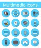 Flache Ikonen der Multimedia Stockfotos