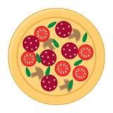 Flache Ikonen der Pizza lokalisiert auf weißem Hintergrund Stockfotos