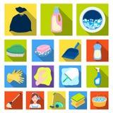 Flache Ikonen der Reinigung und des Mädchens in der Satzsammlung für Design Ausrüstung für Reinigungsvektorsymbolvorrat-Netzillus lizenzfreie abbildung
