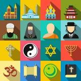 Flache Ikonen der Religion eingestellt Stockfotografie