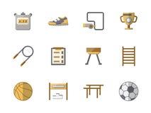 Flache Ikonen der Schulsportausrüstung Farb Stockfoto