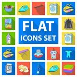 Flache Ikonen der trockenen Reinigungsanlage in der Satzsammlung für Design Das Waschen und das Bügeln kleidet Vektorsymbol-Vorra stock abbildung