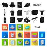Flache Ikonen der trockenen Reinigungsanlage in der Satzsammlung für Design Das Waschen und das Bügeln kleidet Vektorsymbol-Vorra lizenzfreie abbildung