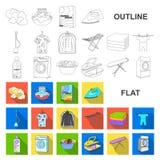 Flache Ikonen der trockenen Reinigungsanlage in der Satzsammlung für Design Das Waschen und das Bügeln kleidet Vektorsymbol-Vorra vektor abbildung