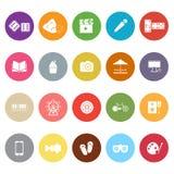Flache Ikonen der Unterhaltung auf weißem Hintergrund Lizenzfreie Stockfotografie