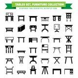 Flache Ikonen der Vektormöbel, Tabellensymbole Schattenbild der unterschiedlichen Tabelle - Abendessen, Schreiben, Frisierkommode Stockbild
