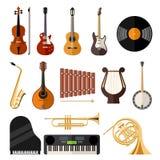 Flache Ikonen der Vektormusikinstrumente Lizenzfreie Stockfotografie