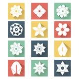 Flache Ikonen der weißen Blume Stockfotografie