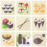 Flache Ikonen des asiatischen Lebensmittels eingestellt Stockfotografie