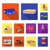 Flache Ikonen des Ateliers und der Ausrüstung in der Satzsammlung für Design Nähen des Oberbekleidungsvektorsymbol-Vorratnetzes Lizenzfreie Stockfotos